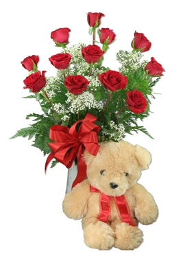 One Dozen Red Roses and Large Teddy Bear