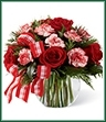 The Winter Elegance Bouquet offers warm wishes and bright sentiments for a wonderful holiday season! Rich red roses and peppermint carnations are delicately arranged amongst holiday greens to create a festive display. Arriving in a clear glass bubble bowl and accented with a red and white plaid ribbon, this arrangement is full of seasonal sophistication.
