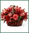 The Bountiful Garden Bouquet is an incredible arrangement that is sure to offer your special recipient the sweetest sentiments for an amazing harvest season. A perfect fit for any celebration, this arrangement of coral roses, red Asiatic lilies, coral mini carnations, green hypericum berries, coral Peruvian lilies, burgundy button poms and lush greens are expertly arranged within a woven willow handled basket to create an eye-catching presentation they are sure to love.