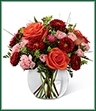 proudly presents the Better Homes and Gardens Color Rush Bouquet. A sweet symphony of bold color, this bouquet of orange roses, red matsumoto asters, pale pink mini carnations and lush greens create an impressive statement. Arranged in a clear glass bubble bowl, this bouquet will spread smiles at every turn.